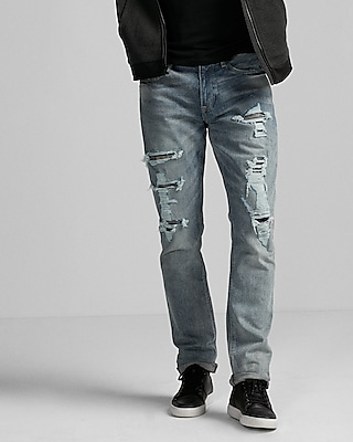 Express Mens Slim Fit Slim Leg Flex Stretch Destroyed Rocco Jeans