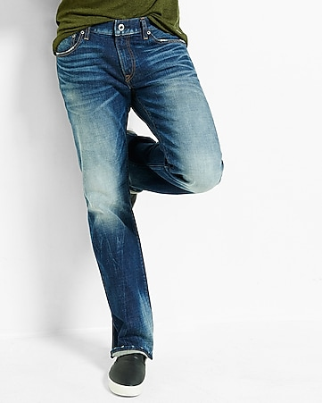 boot leg slim fit dark wash jean