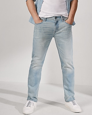 Express Mens Slim Straight Light Wash Cooling Stretch+ Jeans
