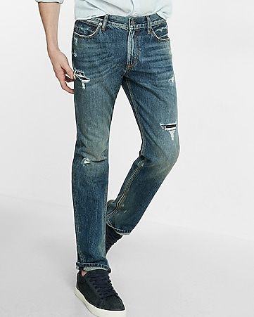 slim fit straight leg destroyed jeans