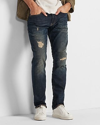Slim Dark Wash Ripped Stretch Jeans