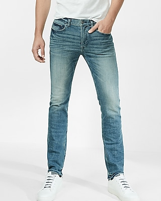 Express Mens Slim Medium Wash 4 Way Stretch Jeans