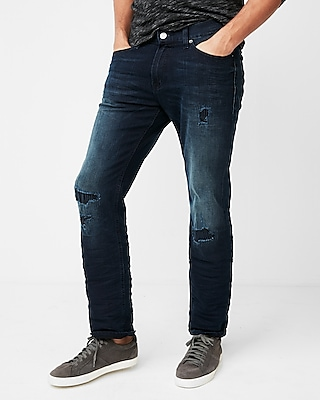 Express Mens Slim Straight Dark Wash Destroyed Stretch Jeans