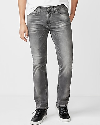 Express Mens Slim Straight Gray Stretch Jeans