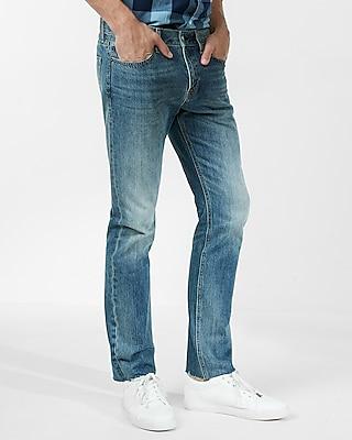 Express Mens Slim Straight Medium Wash Raw Cut Hem 100% Cotton Jeans