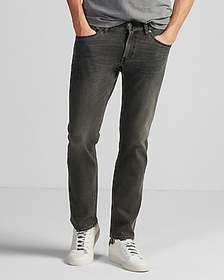 Express Mens Slim Straight Gray 4 Way Stretch Jeans