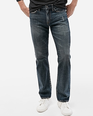Express Mens Slim Straight Medium Wash Distressed Soft Cotton Jeans