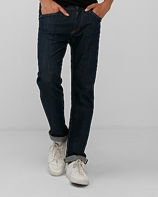 Slim Straight Dark Wash Selvedge Stretch Jeans