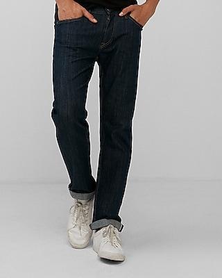 Express Mens Slim Straight Dark Wash Selvedge Stretch Jeans