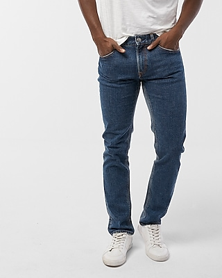 Slim Shadow Patch Distressed Stretch Jeans