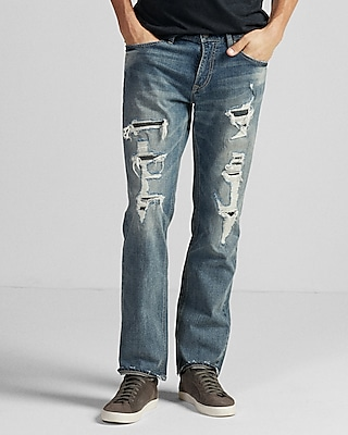 Slim Straight Medium Wash Destroyed Stretch Jeans