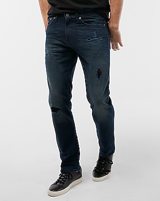 Express Mens Slim Dark Wash Destroyed Stretch Jeans