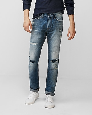 Express Mens Slim Medium Wash Destroyed 100% Cotton Jeans