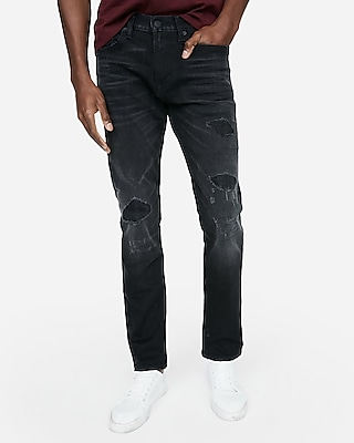 Express Mens Slim Black Destroyed Stretch Jeans