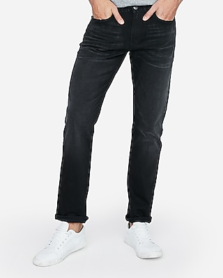 Express Mens Slim Straight Black Stretch Jeans