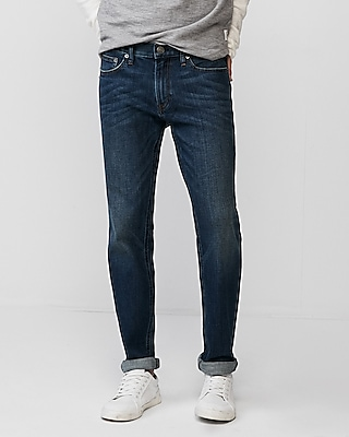 Express Mens Slim Dark Wash Soft Cotton Stretch Jeans