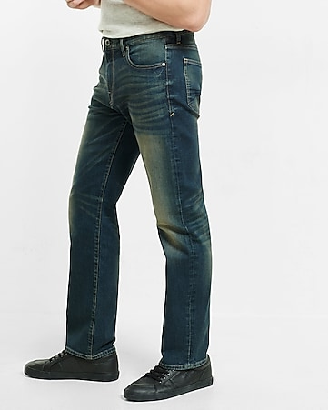 straight leg loose fit flex stretch dark wash jeans
