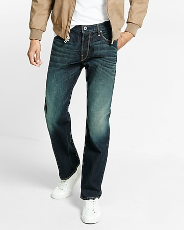 straight leg loose fit flex stretch jeans