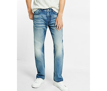straight leg loose fit faded jeans