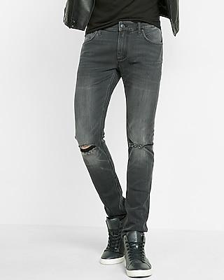 Skinny Fit Super Skinny Leg Gray Distressed Jeans