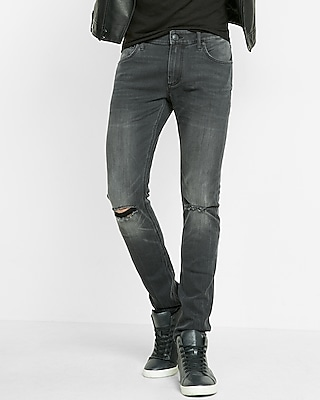 Super Skinny Gray Ripped Stretch+ Jeans