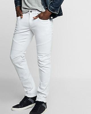 Skinny White Moto Stretch Jeans