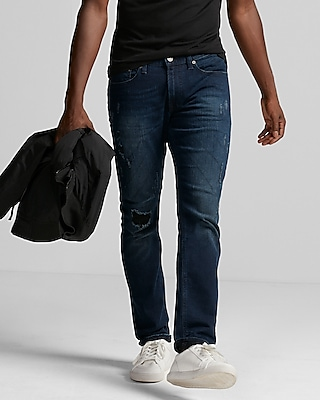 Skinny Dark Wash Destroyed Stretch Jeans
