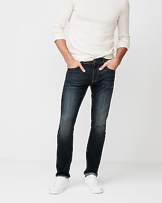 Express Mens Skinny Dark Wash Stretch Jeans