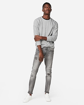 Express Mens Skinny Gray Destroyed Stretch Jeans