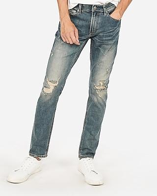 Express Mens Skinny Medium Wash Destroyed Stretch+ Performance Jeans