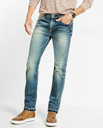 slim leg slim fit released hem jeans