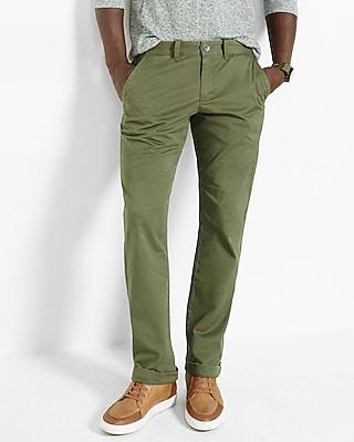 Express Mens Slim Fit Flex Stretch Olive Chino Pant