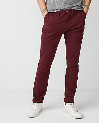 Express Mens Slim Garment Dyed Stretch Chino Red W28 L28