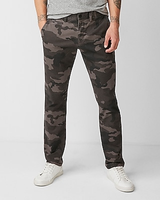 Express Mens Slim Fit Camo Print Stretch Chino