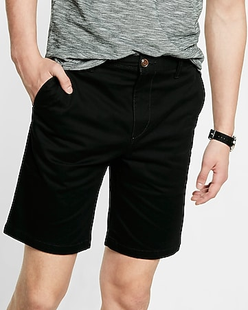slim fit 9 inch twill flat front flex stretch shorts