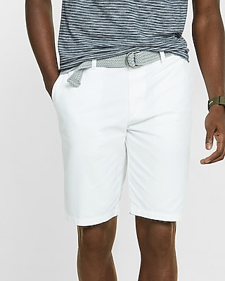 Express Mens Classic Fit 10 Inch Flat Front Belted Shorts White 30