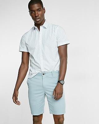 Express Mens Slim Fit 9 Inch Flex Stretch Garment Dyed Twill Shorts Blue 32