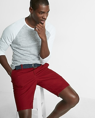 Express Mens Classic Fit 10 Inch Flat Front Belted Shorts Red 30