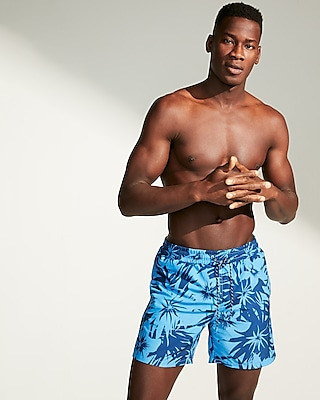 Express Mens Blue Floral Drawstring Swim Trunks