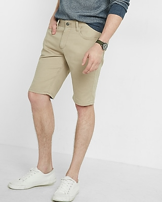 Express Mens Classic Fit Five Pocket Shorts Neutral 28