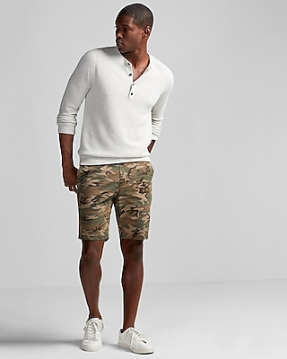 Express Mens Slim Fit 9 Inch Camo Print Stretch Cotton Shorts