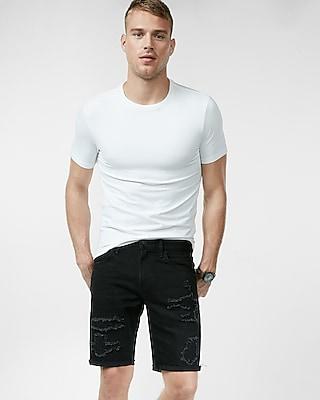 Slim Fit 10 Inch Black Destroyed Stretch Denim Shorts