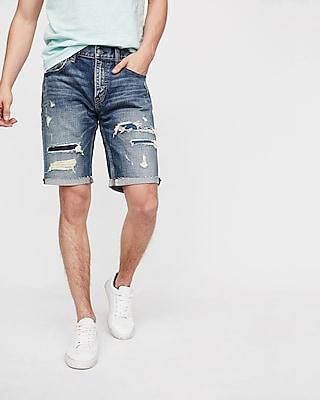 Express Mens Slim 9 Inch Destroyed Stretch Denim Shorts