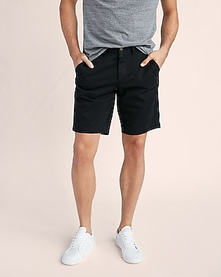 Express Mens Express Mens Classic Fit 10 Inch Garment Dyed Flat Front Stretch Shorts