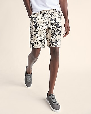 Express Mens Slim Fit Printed 9 Inch Flat Front Stretch Shorts