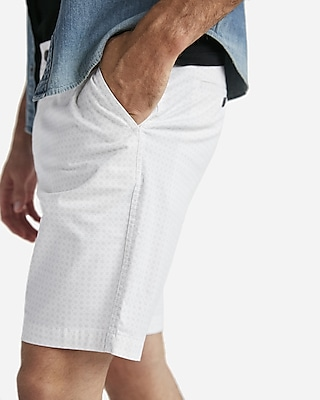 Express Mens Classic Fit Dotted 10 Inch Flat Front Stretch Shorts