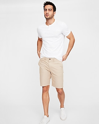 Express Mens Slim 9 Inch Stretch Garment Dyed Shorts