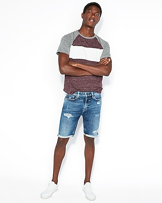 Express Mens Slim 9 Inch Medium Wash Denim Shorts