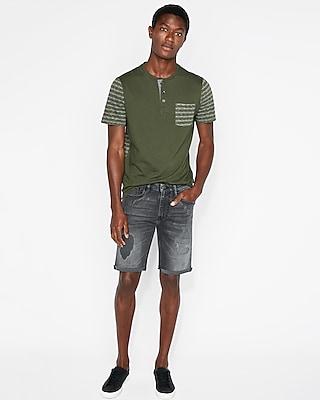 Express Mens Slim 9 Inch Gray Destroyed Denim Shorts