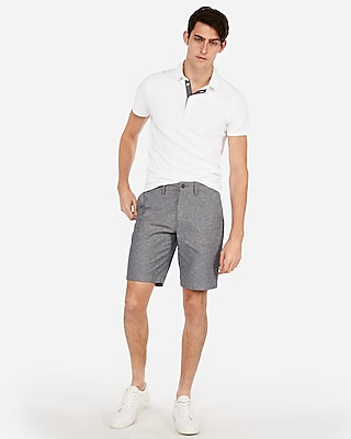 Express Mens Classic 10 Inch Oxford Flat Front Shorts